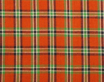 Plaid Material | Cotton Homespun Material Large Red Window Pane Plaid | Primtive Material | Sewing Material | Holiday Plaid Material