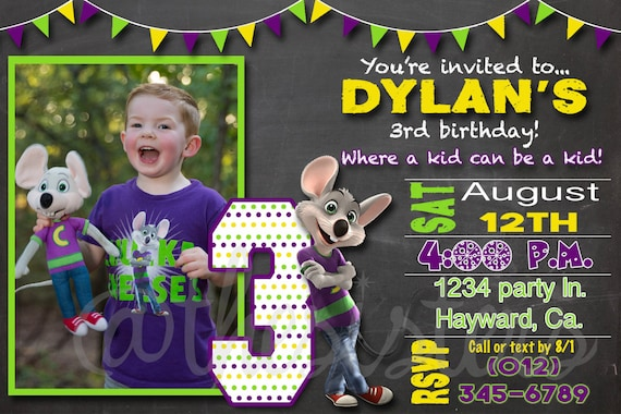 Personalized chuck e cheese birthday invitation filmwisefo Images