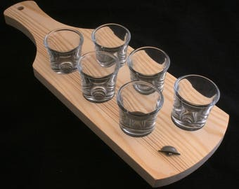 Army Helmet set of 6 Shot Glasses with Wooden Tray Holder