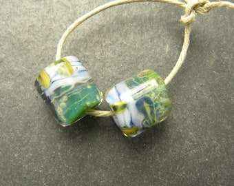 CrazyCatGlass Lampwork Boro Glass Beads Handmade Bayleaf barrel Pair