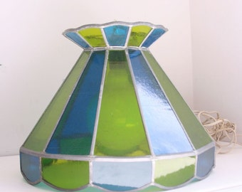 Vintage stained glass hanging light blue and green