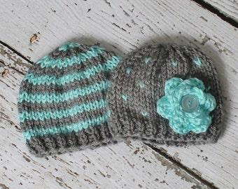 Newborn boy/girl twins hat set in aqua and gray