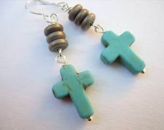 Little Turquoise Crosses and Sterling Silver Earrings
