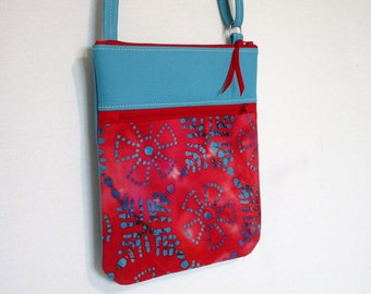 Clutch faux leather turquoise and red and turquoise batik fabric