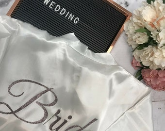 White Plain Personalised Satin Bridal Robe - Bridesmaid Robe - Personalized Robe - Hen Party - Wedding Robes -  Wedding Kimono - Bride