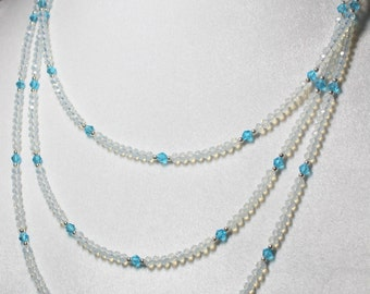 Opal Crystal Triple Strand Silver Beaded Necklace