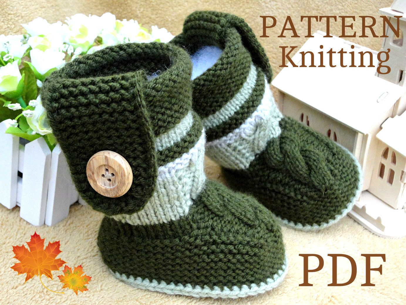 Knitting PATTERN Baby Booties PATTERN Knit Baby Shoes Baby Boy
