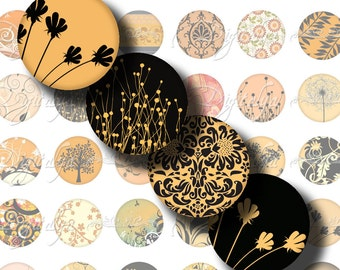 Shades of Orange (4) Digital Collage Sheet - 48 Circles 1inch - 25mm - Available in any smaller size - Buy 3 Get 1 Extra Free