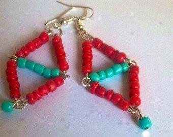 Read and teal beaded earrings -EAR021