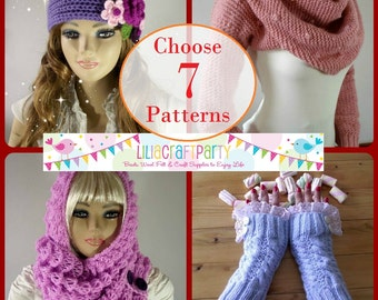 SALE PATTERN Discount - CHOOSE 7 - Knitting & Crochet Patterns Your choice of 7 patterns Instant Download Tutorials with clear instructions