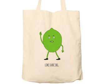 Tote Bag Lime Dancing, Tote Bag Pun, Cotton Tote Bag, Illustrated Tote Bag, Food Bag