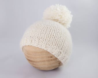 Knit pom pom cream Beanie, newborn photography prop, knit bonnet, knit baby hat