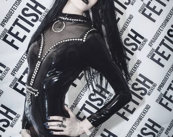 READY TO SHIP. Inverted cross studded catsuit