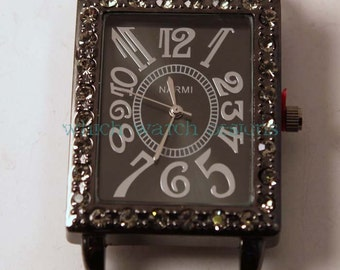 Gunmetal Rectangle.. Interchangeable Antique Marcasite Look Watch Face with Rhinestones, Beaded Watches