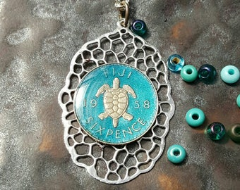 Fiji - Turtle Coin Pendant - Hand Painted