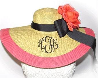 Monogrammed Natural and Coral Floppy Hat NEW ITEM and Gorgeous, Prom, Bride, Wedding, Honeymoon Bridesmaids, Sun, Beach, Derby, Cup Race