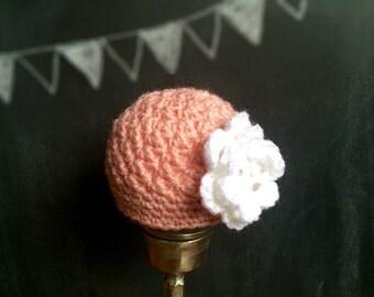 Crochet pink baby girl hat white flower cloche