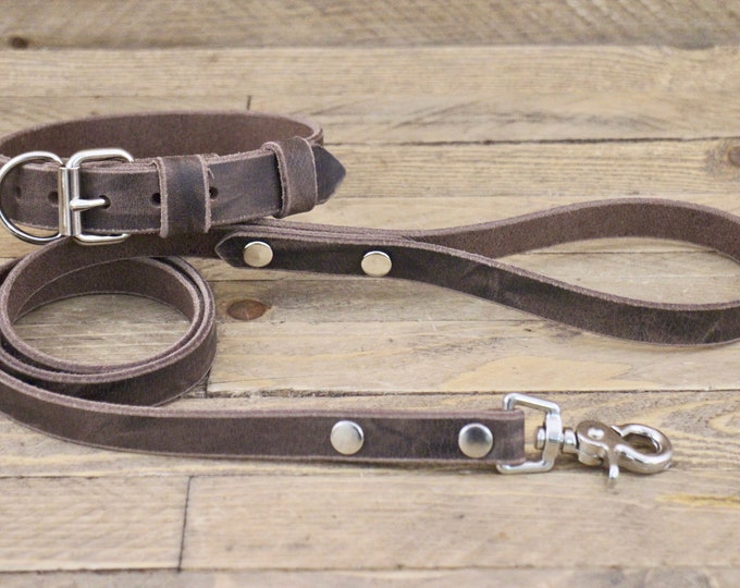 Collar and leash set, Dog collar, Dog leash, FREE ID TAG, Cherry Brown, Silver hardware, Puppy collar, Dog lead, Leather collar, Gift.