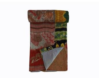 Vintage kantha throw, Handmade Kantha quilt, Boho blanket