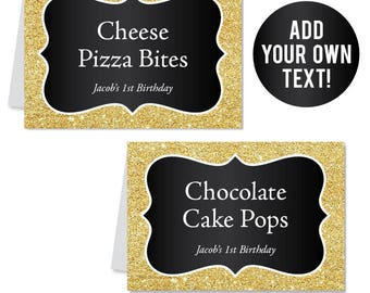 EDITABLE INSTANT DOWNLOAD Gold and Black Buffet Cards - Black and Gold Party - Editable, printable table tent cards