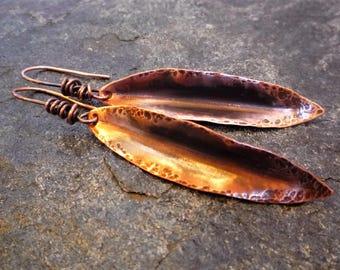 Copper leaf earrings, Fold-formed copper, Hammered copper, Long copper earrings, Rustic earrings, Artisan jewelry