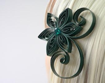 Forest Green Wedding Hair Clip, Hunter Green Bridal Hair, Evergreen