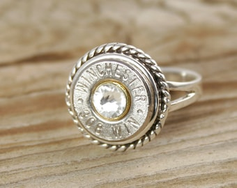 Bullet Ring, Sterling Silver Rope Bullet Ring, Sterling Silver Ring, Custom Ring, 308, 30-06, 270, 40 Caliber, 357, Colt 45, 7mm-08, Jewelry
