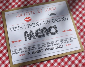 Card of thanks wedding  esprit guinguette 