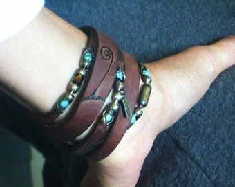 Womens Leather Bracelet | The Wanderer Womens leather Turquoise, Tiger Eye and Sterling Silver bracelet