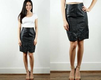 1990s Black Leather Skirt