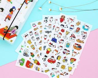 Korean version of cartoon cat control emoticons diary decoration pocket decoration stickers transparent sticker package 6 - SM90598