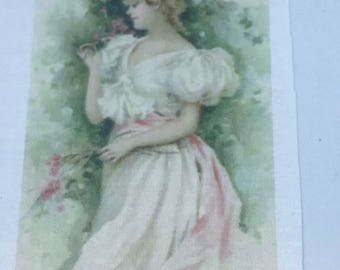 "Vintage Fusible Image 2""x3"" Girl in Pink"