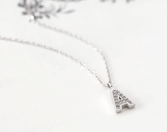 Initial A Necklace Silver925