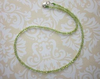 Tiny Peridot Stone Necklace, Peridot Choker, 2mm Tiny Peridot Bead Necklace, Light Green Stone Necklace