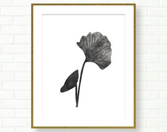 Gingko Leaf Print, INSTANT DOWNLOAD, PRINTABLE, Black White, Botanical Art, Printable Wall Art, Poster, Ginko, Modern, Bathroom Printables