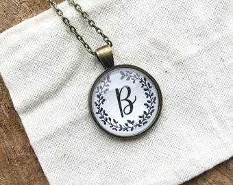 Personalized Initial Pendant Necklace - Glass Cabochon Necklace - Custom Initial Necklace - Illustrated Pendant Necklace - Pendant Necklace