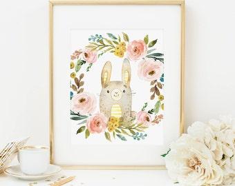 Bunny Printable Woodland Nursery Decor Woodland Animal Prints Floral Nursery Wall Art Girl Nursery Art Rabbit Prints Bunny Decor Pink 233