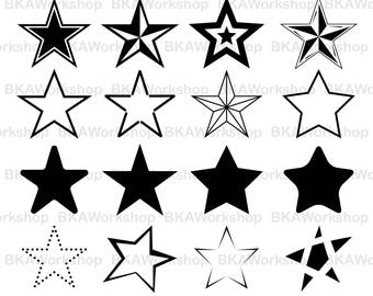 Star svg - Star vector - Star silhouette - Star bundle - Star digital clipart for Design or more, files download svg, png, dxf