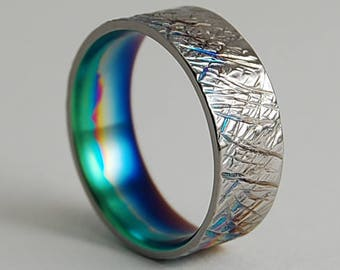 Saturn Band with Multi-color Fade , Titanium Ring , Wedding Band , Titanium Wedding Ring , Titanium Wedding Band , Promise Ring