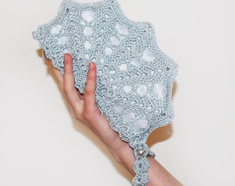 Ice Blue Wristlet Bag - Sparkling Blue Crochet Purse - Small Formal Lace Clutch Bag With Swarovski Crystal Button