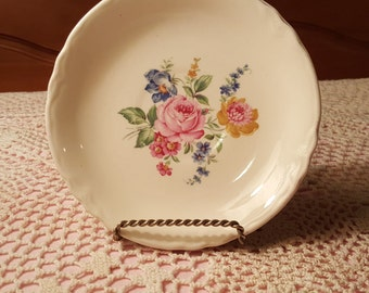 Shabby Chic White Saucer Plate with Pink Rose and Floral Design Cottage Chic Flower Dish FS