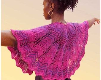 Pattern- Colorama Crescent Shawl with Chevron styling - PDF Download