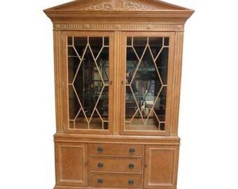 Henredon Monumental Aegean Crystal Curio China Carved Hutch Cabinet