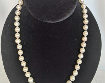 "18""  7.0-7.5mm Akoya Pearl Necklace with 14K Yellow Gold  Safety clasp"