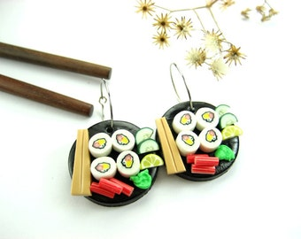 Black Disk Sushi Earrings, sushi jewelry, sushi earrings, Japanese culture, food charms, sushi gift, sushi lover gifts, California maki