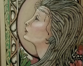 Pen and Ink,drawing,lady, fantasy,print,color pencil.