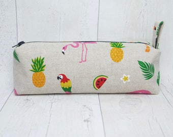 Topical pencil case/ Makeup bag, made with cotton linen fabric and fully lined with water proof fabric