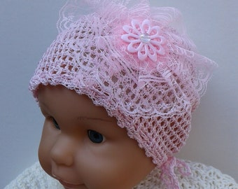 Summer Hat for Girls Crochet Newborn Cotton Rose Pink Lace Baby Toddler Fashion hat Sun Beanie Spring Little Lady's Little girl's Hat