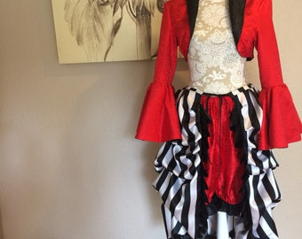 Red and Black Bolero Jacket, Tie On Bustle Skirt, and Bloomers - set