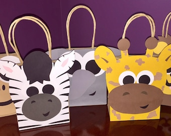 Set of 25 Safari Party Bags - Lion - Monkey - Giraffe - Elephant - Zebra - Goodie Bags - Zoo Animals - Baby Shower - Birthday Favors